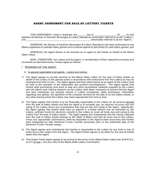 lottery ticket sale agent agreement form