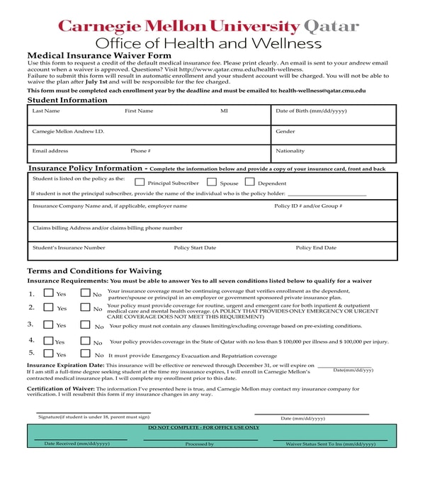 medical insurance waiver form