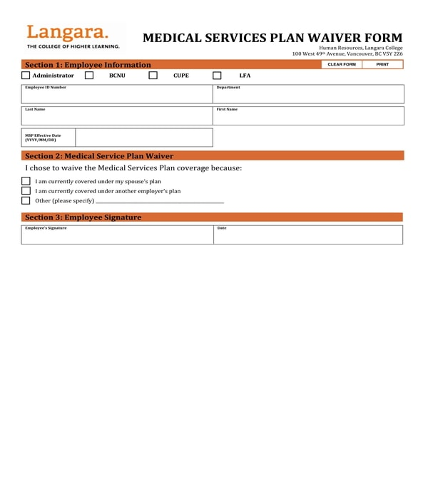 medical services plan waiver form
