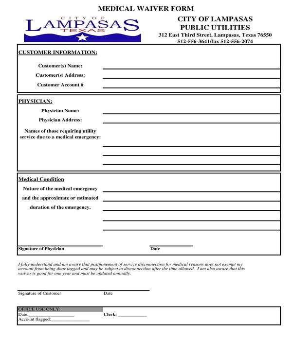 medical waiver form sample