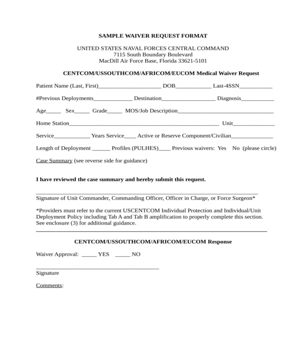 medical waiver request form sample