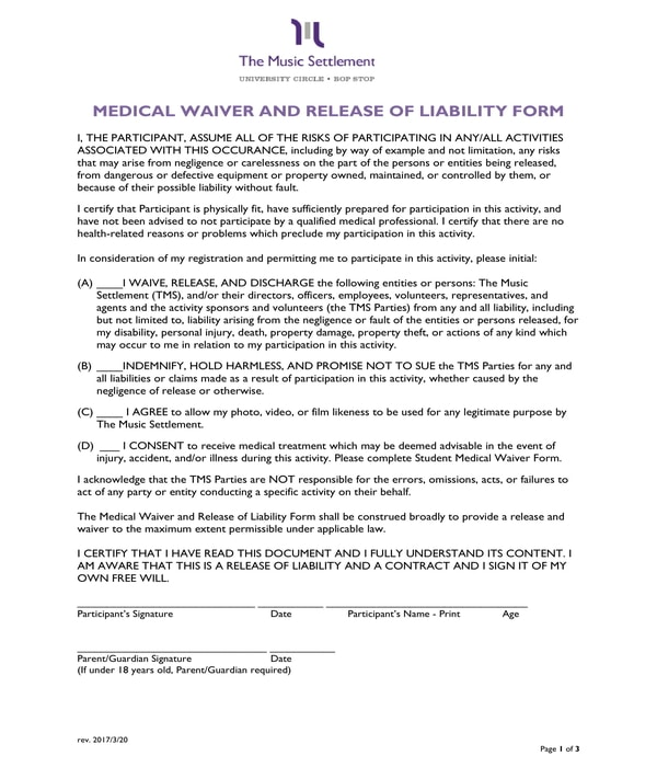 medical waiver and release liability form