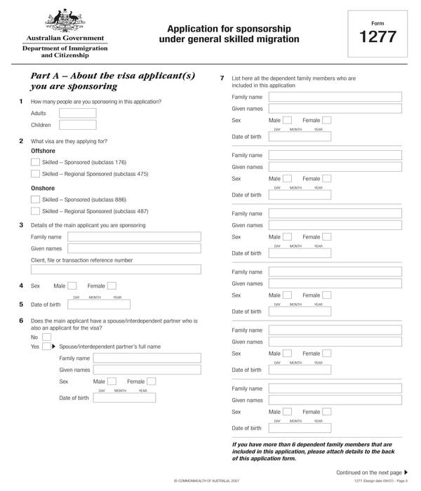 migration sponsorship application form
