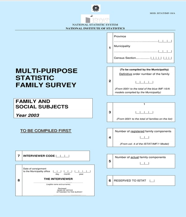 multi purpose statistic family survey form