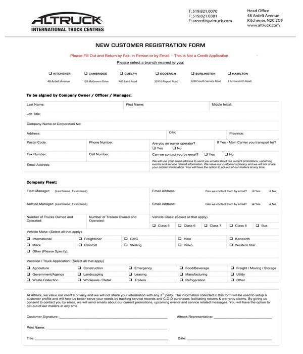 new truck customer registration form