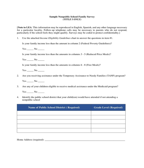nonpublic school family survey form