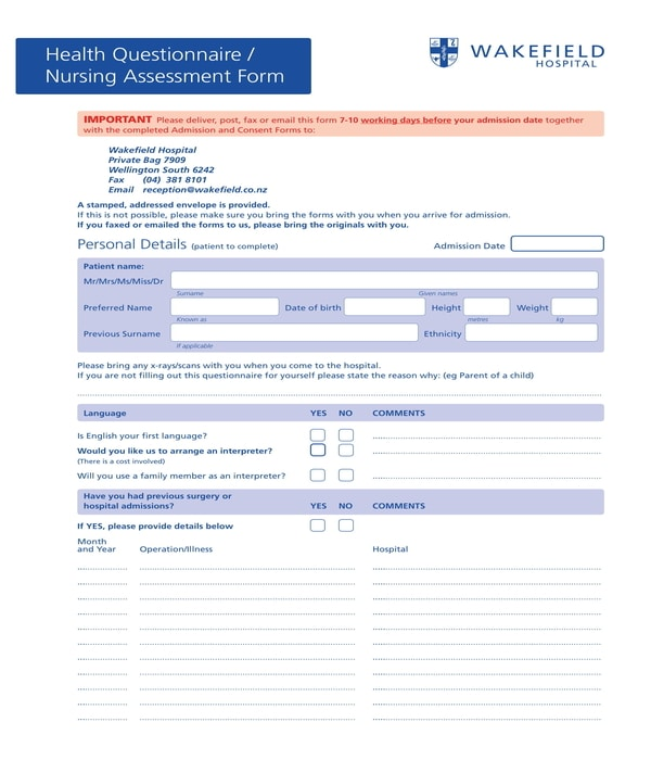 nursing assessment and health questionnaire form