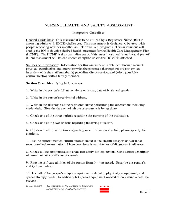 nursing health and safety assessment form