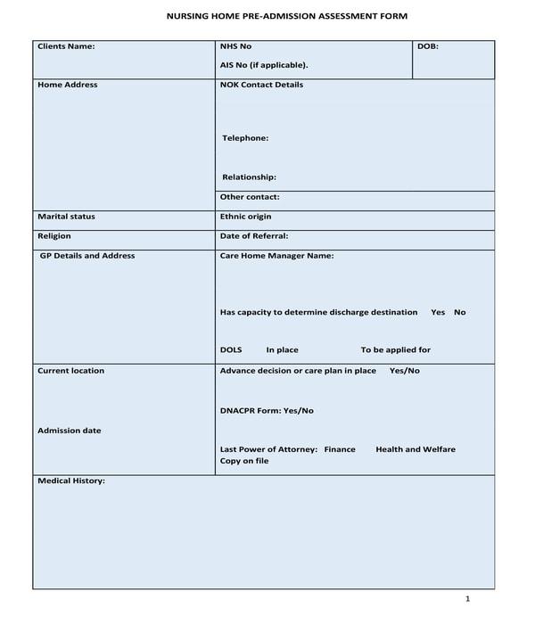 nursing home pre admission assessment form