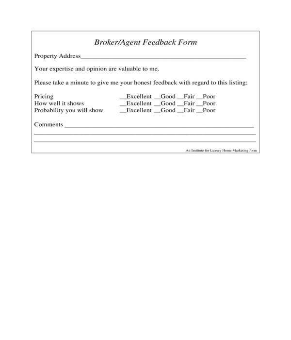 open house broker feedback form