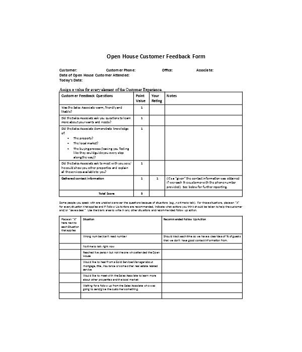 open house customer feedback form