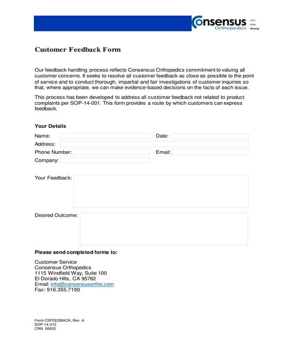 orthopedics customer feedback form
