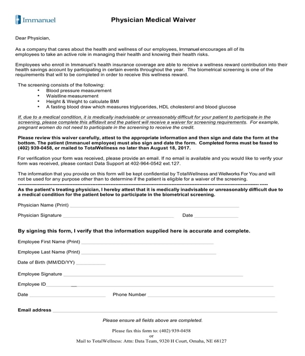 physician medical waiver form