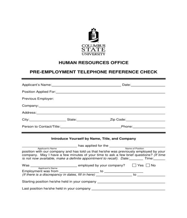 pre employment telephone reference check form