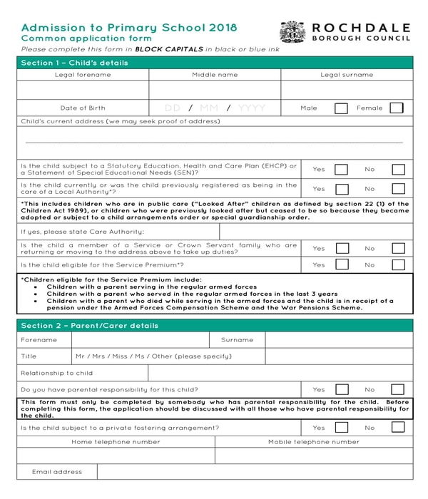 primary school admission form sample