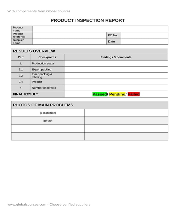 product inspection report form