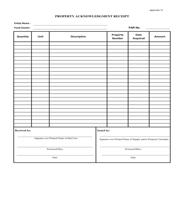 property acknowledgment receipt form sample