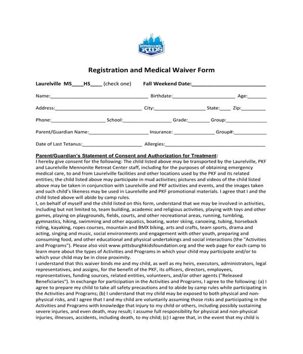 registration and medical waiver form
