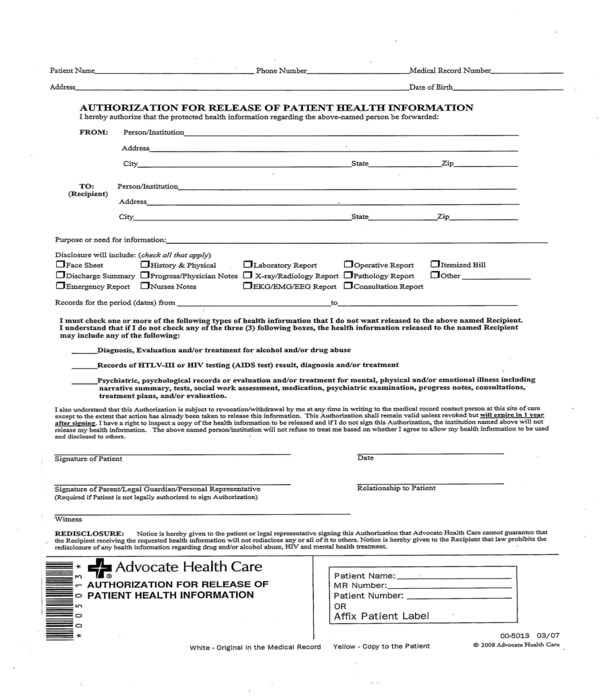 release of patient health information form