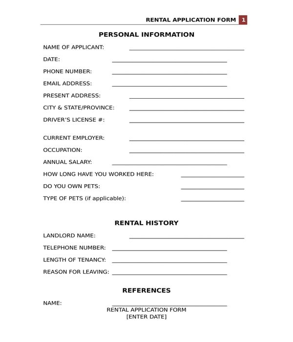 rental application form in doc