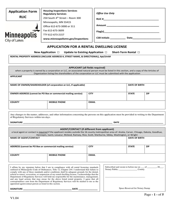 rental dwelling license application form