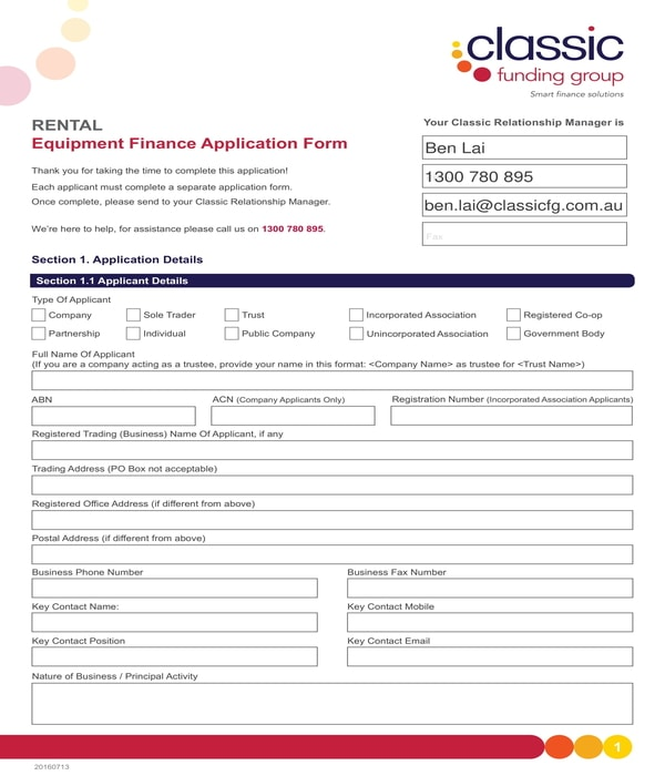 rental equipment finance application form