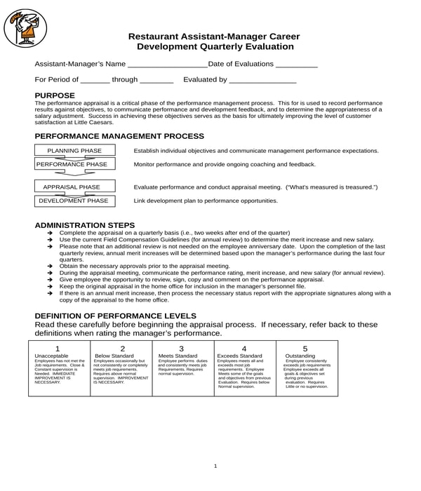 restaurant assistant manager career development quarterly evaluation form