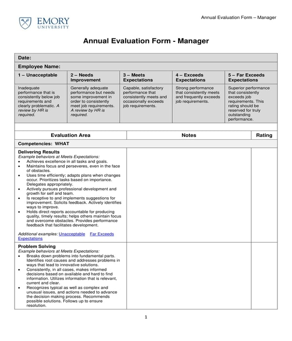 restaurant manager annual evaluation form