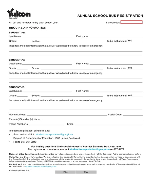 school bus registration form