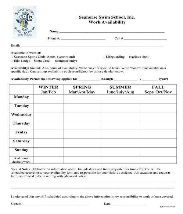 school work availability form