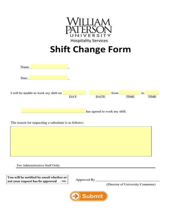 shift change form sample