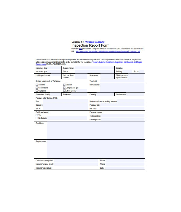simple inspection report form
