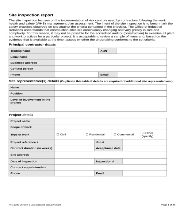 site inspection report form