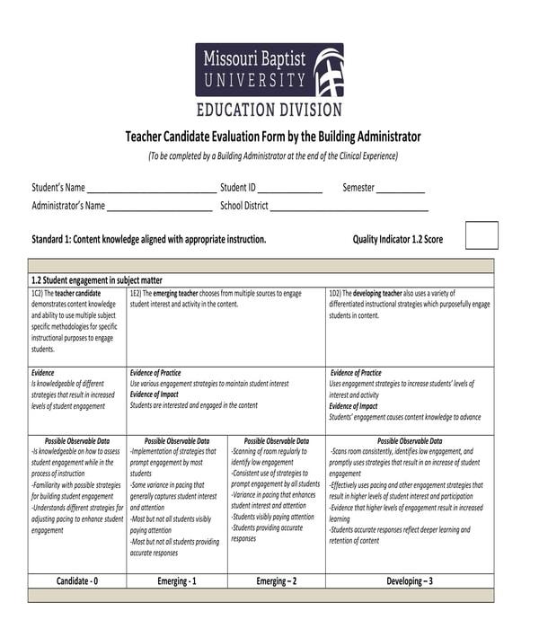 teacher candidate evaluation form
