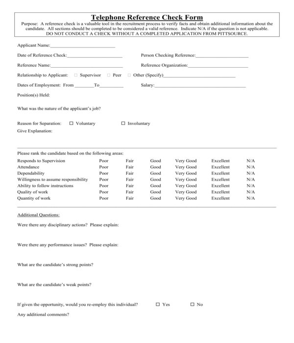 telephone reference check form sample