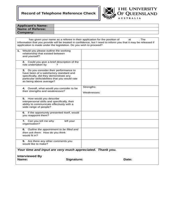 telephone reference check record form
