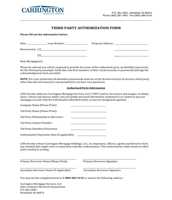 third party authorization form sample