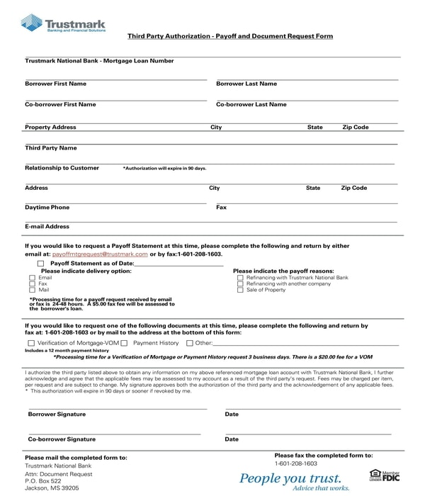 third party authorization payoff and document request form