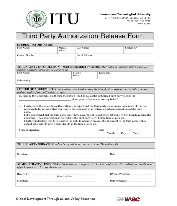 third party authorization release form