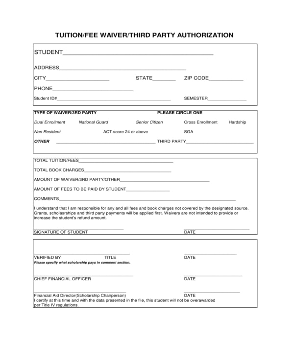 tuition fee waiver third party authorization form