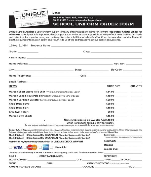 uniform order form sample