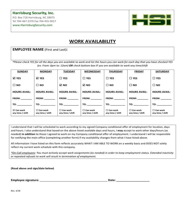 work availability form sample