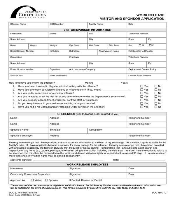 work release visitor and sponsor application form