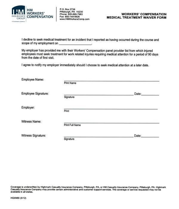 workers compensation medical treatment waiver form