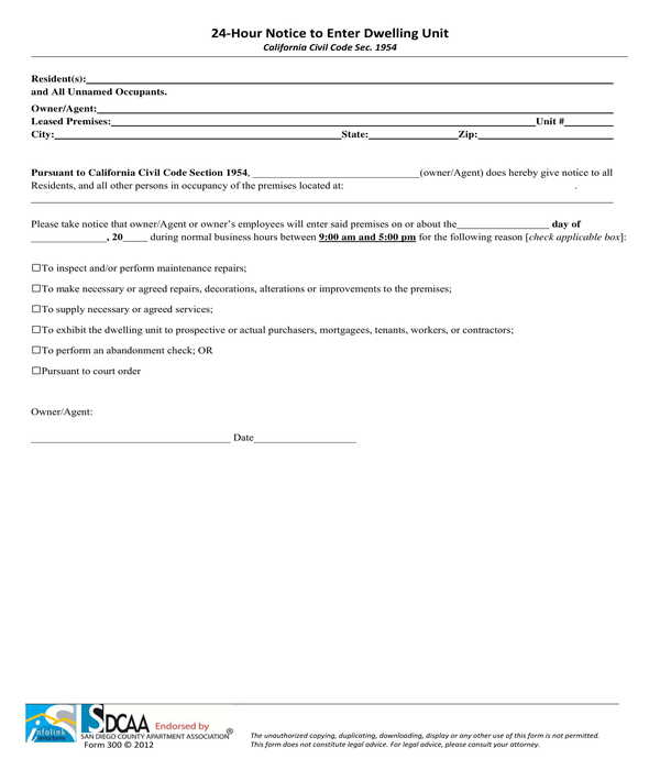 24‐hour notice to enter dwelling unit form
