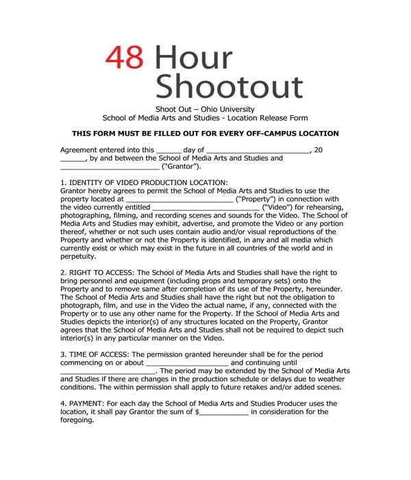 48 hour shootout location release form