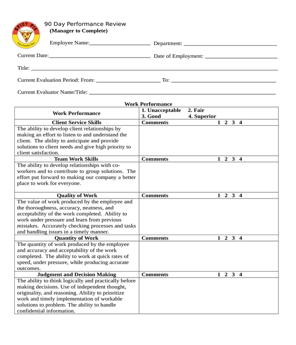 90 day performance review form