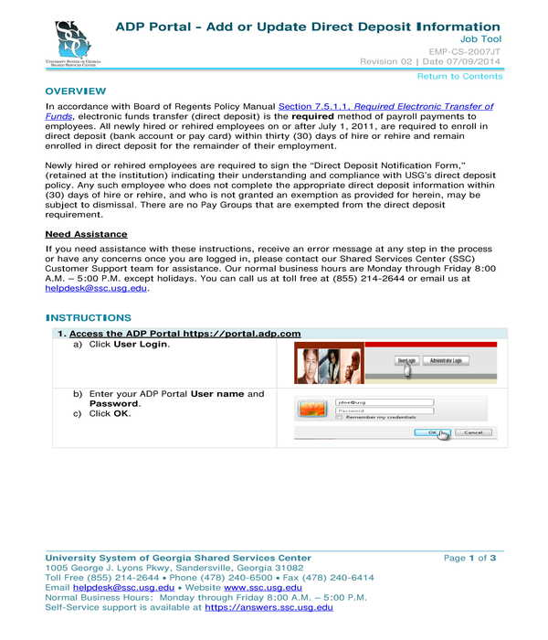 adp direct deposit information instructions form