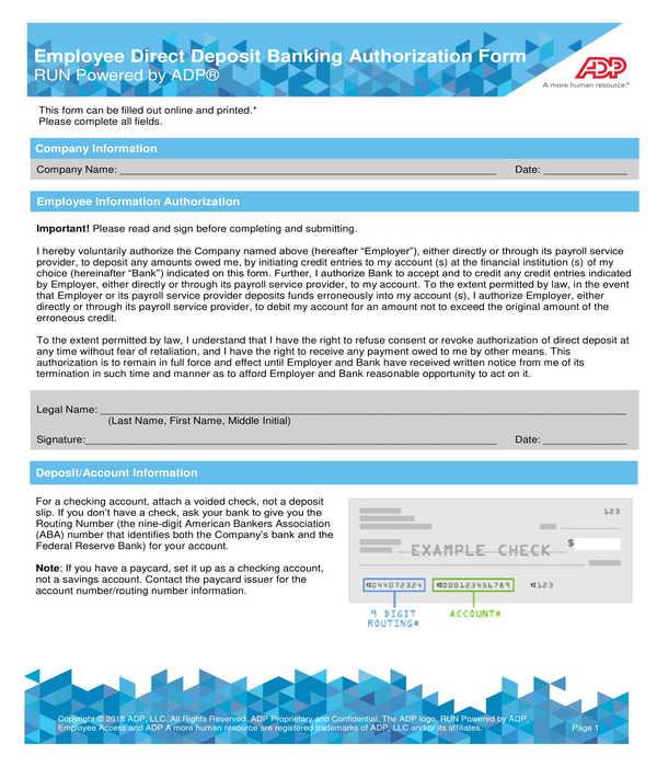 adp employee direct deposit banking authorization form