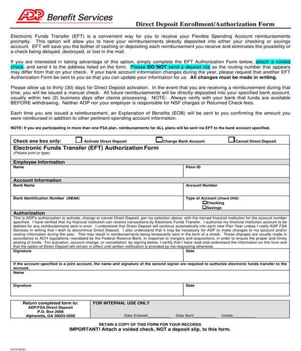 adp employee direct deposit enrollment authorization form